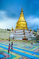 Young novice Buddhist nuns, Sun U Ponya Shin Pagoda, atop Sagaing Hill, Sagaing, near Mandalay, Burma (Myanmar)