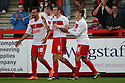 James Dunne of Stevenage (c) celebrates scoring their second goal. Stevenage v AFC Wimbledon - Capital One Cup First Round - Lamex Stadium, Stevenage . - 14th August, 2012. © Kevin Coleman 2012