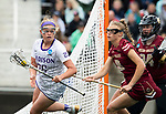 STONY BROOK, NY - MAY 27: Haley Warden #25 of the James Madison Dukes maneuvers around Dempsey Arsenault #18 of the Boston College Eagles during the Division I Women's Lacrosse Championship held at Kenneth P. LaValle Stadium on May 27, 2018 in Stony Brook, New York. (Photo by Ben Solomon/NCAA Photos via Getty Images)