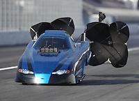 Feb 9, 2017; Pomona, CA, USA; NHRA top alcohol funny car driver Mike Doushgounian during qualifying for the Winternationals at Auto Club Raceway at Pomona. Mandatory Credit: Mark J. Rebilas-USA TODAY Sports