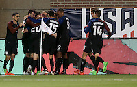 Chattanooga, TN - February 3, 2017: The U.S. Men's National team go up 1-0 over Jamaica with Jordan Morris scoring the winning goal in second half action during an international friendly match at Finley Stadium.