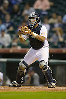 Catcher Diego Seastrunk #5 of the Rice Owls waits for a throw at home plate versus the UCLA Bruins in the 2009 Houston College Classic at Minute Maid Park February 27, 2009 in Houston, TX.  The Owls defeated the Bruins 5-4 in 10 innings. (Photo by Brian Westerholt / Four Seam Images)