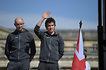 Ian Stannard (GBR) and Geraint Thomas (WAL) Team Sky on stage at the team presentation before the 116th edition of Paris-Roubaix 2018. 7th April 2018.<br /> Picture: ASO/Pauline Ballet | Cyclefile<br /> <br /> <br /> All photos usage must carry mandatory copyright credit (&copy; Cyclefile | ASO/Pauline Ballet)