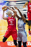 Washington, DC - Sept 17, 2017: Washington Mystics guard Elena Delle Donne (11) goes up strong to the basket against former teammate Minnesota Lynx center Sylvia Fowles (34) during playoff game between the Mystics and Lynx at the Verizon Center in Washington, DC. (Photo by Phil Peters/Media Images International)