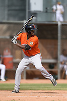 San Francisco Giants first baseman Brian Ragira (45) during an Instructional League game against the Oakland Athletics on October 15, 2014 at Papago Park Baseball Complex in Phoenix, Arizona.  (Mike Janes/Four Seam Images)