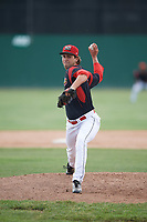 Batavia Muckdogs relief pitcher Ryan McKay (27) delivers a pitch during a game against the West Virginia Black Bears on June 25, 2017 at Dwyer Stadium in Batavia, New York.  Batavia defeated West Virginia 4-1 in nine innings of a scheduled seven inning game.  (Mike Janes/Four Seam Images)