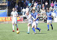 Ross Campbell and Josh Todd tussle for the ball in the SPFL Ladbrokes Championship Play Off semi final match between Queen of the South and Montrose at Palmerston Park, Dumfries on  11.5.19.