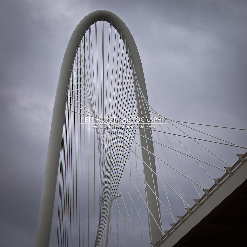 The newly constructed (2012) Margaret Hunt Hill bridge, designed by Santiago Calatrava, leading into Dallas, Texas.