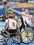 November 18 2011 - Guadalajara, Mexico:   Robert Hedges and Partrick Anderson defend against a Team Mexico player in the Bronze Medal Game in the CODE Alcalde Sports Complex at the 2011 Parapan American Games in Guadalajara, Mexico.  Photos: Matthew Murnaghan/Canadian Paralympic Committee