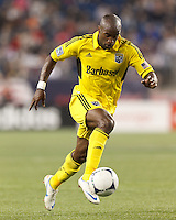 Columbus Crew forward Emilio Renteria (20) on the attack. In a Major League Soccer (MLS) match, the New England Revolution tied the Columbus Crew, 0-0, at Gillette Stadium on June 16, 2012.