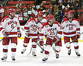 Ryan Grimshaw (Harvard - 6), Pier-Olivier Michaud (Harvard - 39), Marshall Everson (Harvard - 21), Alex Fallstrom (Harvard - 16) - The Harvard University Crimson defeated the visiting Colgate University Raiders 6-2 (2 EN) on Friday, January 28, 2011, at Bright Hockey Center in Cambridge, Massachusetts.