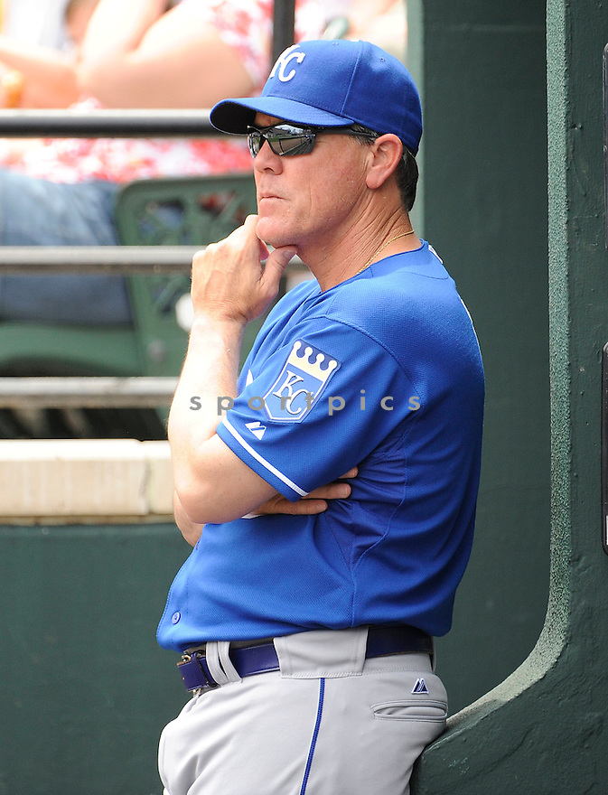 NED YOST, of the Kansas City Royals, in action during the Royals game against the Baltimore Orioles, on May 26, 2011 at  Oriole Park in Baltimore, Maryland. The Orioles beat the Royals 6-5.