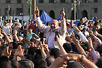 Egyptian preacher and member of the Muslim Brotherhood Safwat el-Hegazy is carried up by protesters as he joins them in a protest, hours after the announcement of the verdict in the trial of the former president Hosni Mubarak and his aides, in Tahrir square, Cairo, Egypt, 02 June 2012. Former Egyptian president Hosni Mubarak and his former interior minister Habib al-Adly were on 02 June sentenced to life imprisonment after a court found him guilty of complicity in the killing of peaceful protesters during the 2011 uprising. The judge however, found that Mubarak, and his two sons, Alaa and Gamal, were not guilty of corruption and influence peddling. Egypt's top prosecutor ordered that former president Hosni Mubarak be transferred from a military hospital to a prison facility near Cairo. Photo by Ashraf Amra