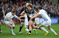 Nick Auterac of Bath Rugby takes on the Leinster Rugby defence. European Rugby Champions Cup match, between Bath Rugby and Leinster Rugby on November 21, 2015 at the Recreation Ground in Bath, England. Photo by: Patrick Khachfe / Onside Images