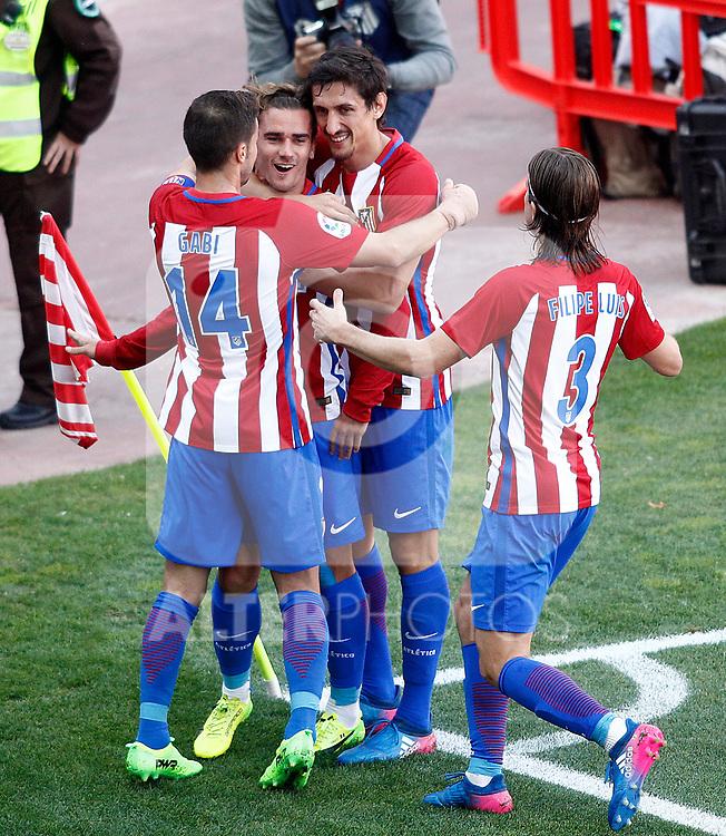 Atletico de Madrid's Gabi Fernandez, Antoine Griezmann, Stefan Savic  and Filipe Luis celebrate goal during La Liga match. March 19,2017. (ALTERPHOTOS/Acero)