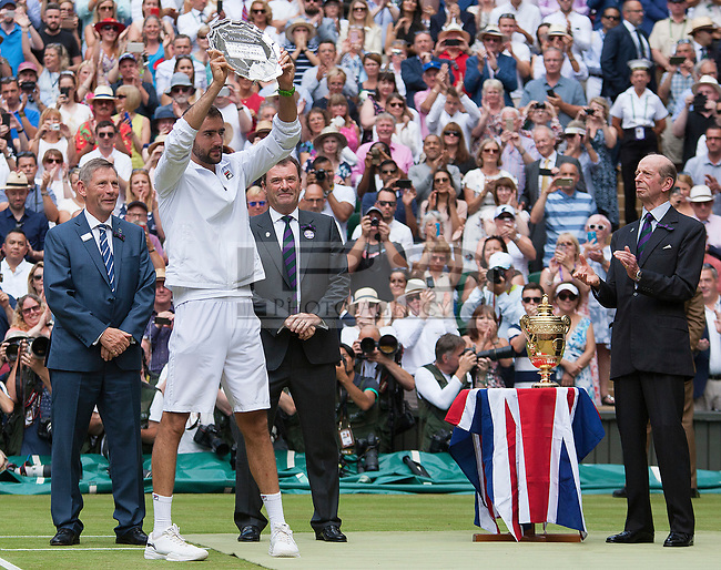 Marin Cilic (CRO) holds up the Runners up Plate in the Mens Final against Roger Federer (SUI) , Wimbledon Championships 2017, Day 13, Mens Final, All England Lawn Tennis & Croquet Club, Church Rd, London, United Kingdom - 16th July 2017
