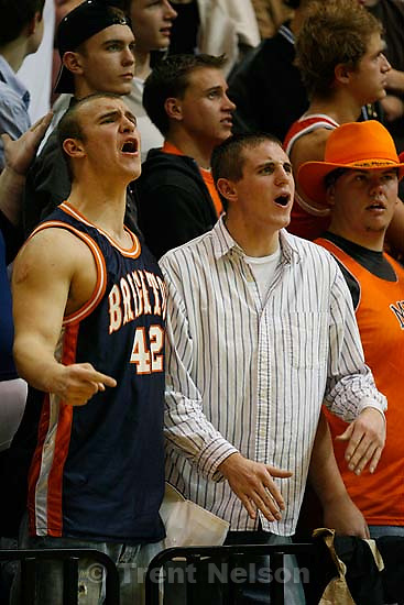 fans. guy in #42 jersey was yelling at Hillcrest fans something that start with &quot;F&quot; followed by something like &quot;meet you in the parking lot&quot;. Sandy - Brighton vs. Hillcrest High School boys basketball.&amp;#xA;; 1.12.2007<br />
