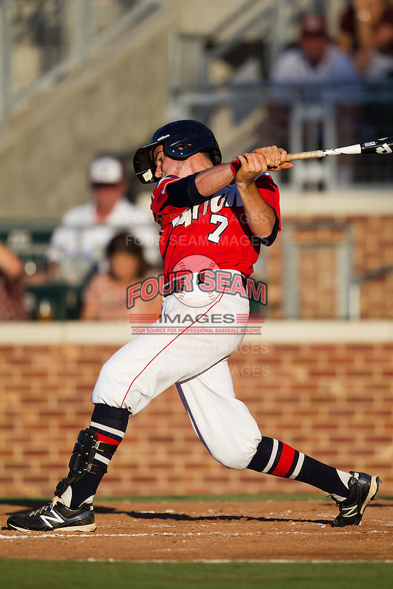 Outfielder Bobby Glover #7 of the Dayton Flyers at bat during the NCAA Tournament Regional baseball game against the Texas A&M Aggies on June 1, 2012 at Blue Bell Park in College Station, Texas. Texas A&M defeated Dayton 4-1. (Andrew Woolley/Four Seam Images)