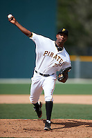 GCL Pirates pitcher Yunior Montero (37) delivers a pitch during the first game of a doubleheader against the GCL Yankees 2 on July 31, 2015 at the Pirate City in Bradenton, Florida.  GCL Pirates defeated the GCL Yankees 2 2-1.  (Mike Janes/Four Seam Images)