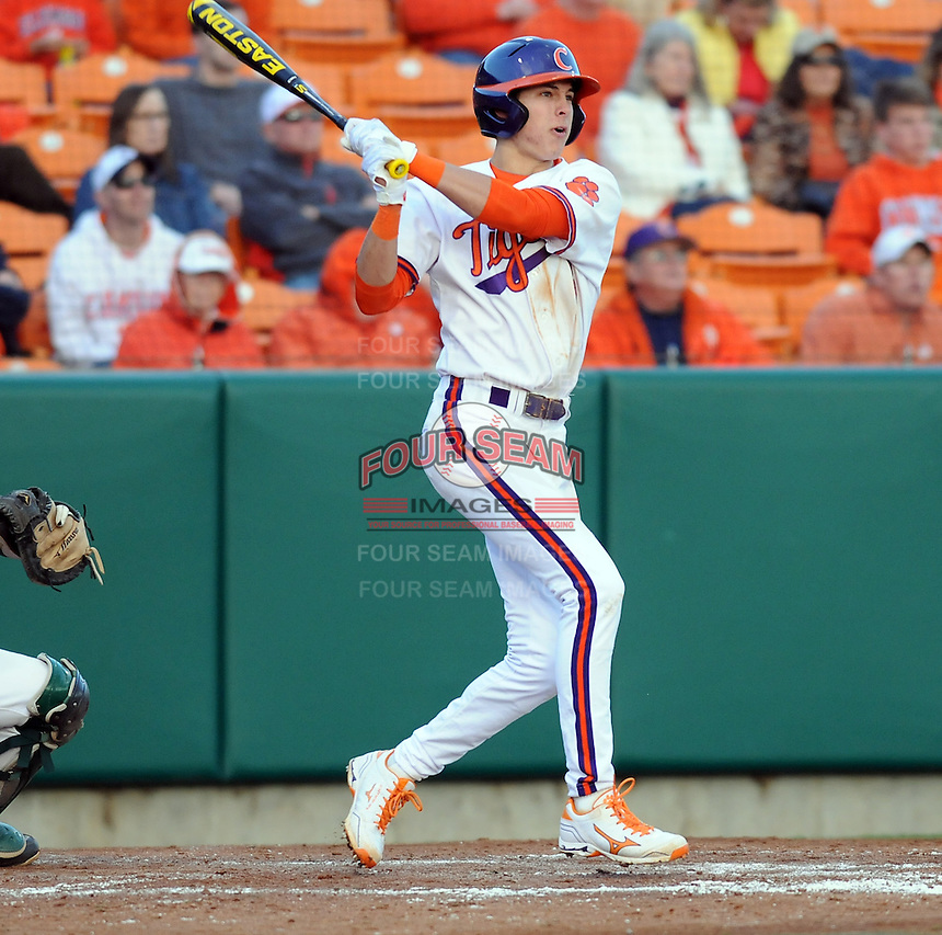Shortstop Tyler Krieger (3) of the Clemson Tigers in a game against the William & Mary Tribe on Opening Day, Friday, February 15, 2013, at Doug Kingsmore Stadium in Clemson, South Carolina. Clemson won, 2-0. (Tom Priddy/Four Seam Images)