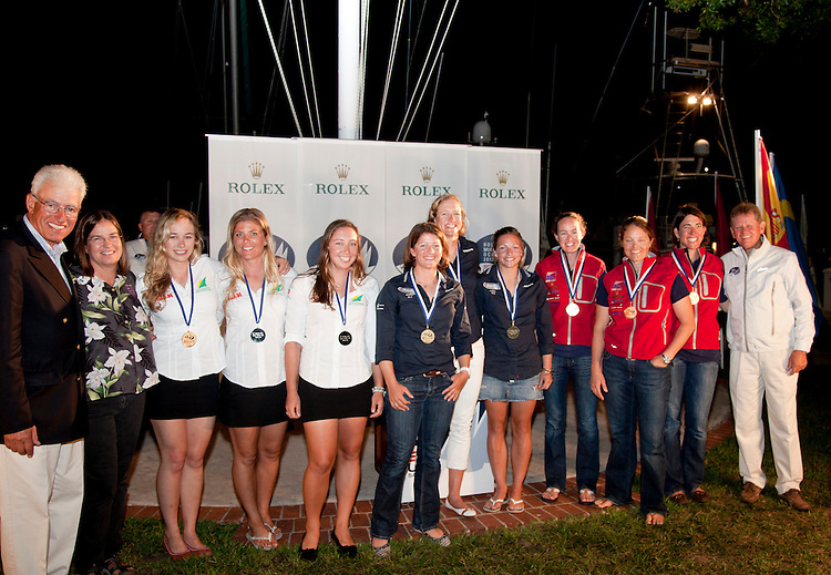 (L to R).2nd: AUS, Fleet: Womens Match Race, Crew: Nicky Souter, Jessica Eastwell, Katie Spithill, Country: AUS.1st: 1, Fleet: Womens Match Race, Crew: Lucy Macgregor, Annie Lush, Kate Macgregor, Country: GBR.3rd: USA, Fleet: Womens Match Race, Crew: Sally Barkow, elizabeth kratzig-Burnham, Alana o'Reilly, Country: USA