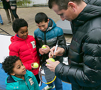 08-02-14, Netherlands,RotterdamAhoy, ABNAMROWTT,, Streettennis in wheelchairs in the center of Rotterdam with   Richard Krajicek (NED) signing autographs<br /> Photo:Tennisimages/Henk Koster