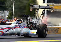 Oct 4, 2013; Mohnton, PA, USA; NHRA top fuel dragster driver Leah Pruett during qualifying for the Auto Plus Nationals at Maple Grove Raceway. Mandatory Credit: Mark J. Rebilas-