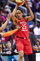 Washington, DC - June 3, 2018: Washington Mystics forward Monique Currie (25) looks to pass the ball during game between the Washington Mystics and Connecticut Sun at the Capital One Arena in Washington, DC. (Photo by Phil Peters/Media Images International)