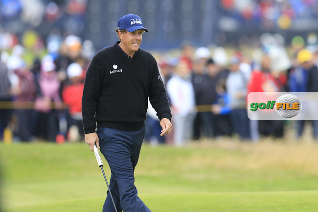 Phil Mickelson (USA) walks onto the 2nd green during Saturday's Round 3 of the 145th Open Championship held at Royal Troon Golf Club, Troon, Ayreshire, Scotland. 16th July 2016.<br /> Picture: Eoin Clarke | Golffile<br /> <br /> <br /> All photos usage must carry mandatory copyright credit (&copy; Golffile | Eoin Clarke)