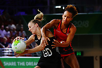 Katrina Grant of New Zealand competes against Serena Guthrie of England. Gold Coast 2018 Commonwealth Games, Netball, New Zealand Silver Ferns v England, Gold Coast Convention and Exhibition Centre, Gold Coast, Australia. 11 April 2018 © Copyright Photo: Anthony Au-Yeung / www.photosport.nz /SWpix.com