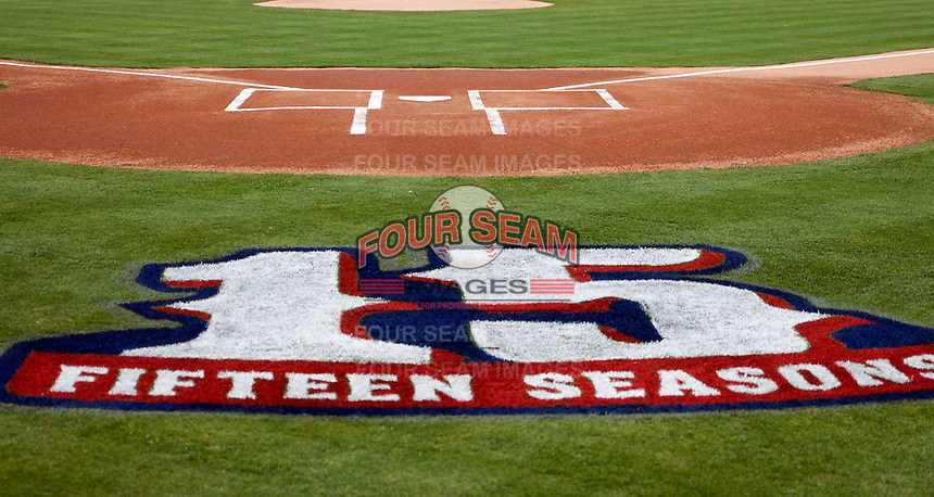Round Rock Express 15th season logo at the Dell Diamond in Round Rock, Texas. (Andrew Woolley/Four Seam Images)