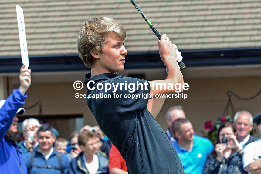 Tyrone Clarke, son, Darren Clarke, professional golfer, N Ireland, 201206270336. Photo taken 27th June 2012 on the first tee, Pro-Am competition, Irish Open Championship, Royal Portrush Golf Club, N Ireland.<br /> <br /> Copyright Image from Victor Patterson, 54 Dorchester Park, Belfast, UK, BT9 6RJ<br /> <br /> t1: +44 28 9066 1296 (from Rep of Ireland 048 9066 1296)<br /> t2: +44 28 9002 2446 (from Rep of Ireland 048 9002 2446)<br /> m: +44 7802 353836<br /> <br /> e1: victorpatterson@me.com<br /> e2: victorpatterson@gmail.com<br /> <br /> The use of any of my copyright images is subject to my Terms &amp; Conditions. It is IMPORTANT that you familiarise yourself with them. They are available at my website, victorpatterson.com.<br /> <br /> None of my copyright images may be used on the Internet unless they are visibly watermarked, i.e. &copy; Victor Patterson within the body of the image. My metadata, denoting my copyright must NOT be deleted. <br /> <br /> Web use is extra at currently recommended NUJ rates. Maximum permitted web size is<br />  400kb. <br /> <br /> Images must not be passed on to a third party - they are for the use of the authorised recipient only.
