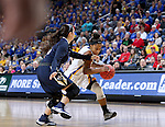 SIOUX FALLS, SD: MARCH 5: Alexis Alexander #1 from South Dakota State University looks to get a step past the defense from Oral Roberts during the Summit League Basketball Championship on March 5, 2017 at the Denny Sanford Premier Center in Sioux Falls, SD. (Photo by Dave Eggen/Inertia)