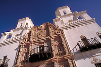 "Mission San Xavier del Bac (""""The White Dove of the Desert"""") was built in 1787-1793 by Franciscan missionaries. Since 1911, it has been maintained as the main church and school of the Tohono O'Odham Indian Reservation. Tucson Arizona USA."