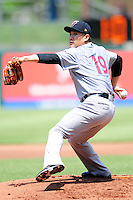 New York Yankees pitcher Masahiro Tanaka (19)warms up prior to his rehabilitation start with the Scranton/Wilkes-Barre RailRiders versus the Pawtucket Red Sox at McCoy Stadium on May 27, 2015 in Pawtucket, Rhode Island.  (Ken Babbitt/Four Seam Images)