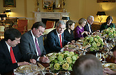 United States President George W. Bush hosts a background lunch with television network correspondents on January 28, 2008.  Pictured from left to right: Chris Wallace, Fox News; Tim Russert, NBC News and Host, Meet the Press; President Bush; Katie Couric, CBS News; Dana Perino, White House Press Secretary; Wolf Blitzer, CNN; unidentified..Mandatory Credit: Eric Draper / White House via CNP.