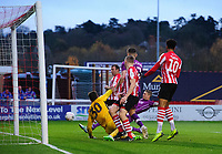 Lincoln City's Matt Rhead scores the opening goal<br /> <br /> Photographer Chris Vaughan/CameraSport<br /> <br /> The Emirates FA Cup Second Round - Lincoln City v Carlisle United - Saturday 1st December 2018 - Sincil Bank - Lincoln<br />  <br /> World Copyright © 2018 CameraSport. All rights reserved. 43 Linden Ave. Countesthorpe. Leicester. England. LE8 5PG - Tel: +44 (0) 116 277 4147 - admin@camerasport.com - www.camerasport.com