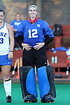 16 October 2015: Duke's Lauren Blazing. The University of North Carolina Tar Heels hosted the Duke University Blue Devils at Francis E. Henry Stadium in Chapel Hill, North Carolina in a 2015 NCAA Division I Field Hockey match. UNC won the game 2-1.