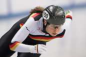1st February 2019, Dresden, Saxony, Germany; World Short Track Speed Skating; 500 meters women in the EnergieVerbund Arena. Anna Katharina G䲴ner from Germany runs in a curve.