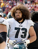 Philadelphia Eagles offensive guard Isaac Seumalo (73) looks at the scoreboard replay of a fumble his team returned for a touchdown in the fourth quarter against the Washington Redskins at FedEx Field in Landover, Maryland on Sunday, September 10, 2017.  The Eagles won the game 30 - 17.<br /> Credit: Ron Sachs / CNP