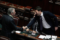 Stretta di mano tra Umberto Bossi e Matteo Renzi<br /> Roma 25-02-2014 Camera. Voto di fiducia al nuovo Governo.<br /> Senate. Trust vote for the new Government.<br /> Photo Samantha Zucchi Insidefoto