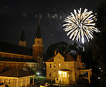 Fireworks fire over ST Bernards Church and the rectory in the Rockville section on Vernon during the annual July in the Sky, Tuesday, July 3, 2012, in Vernon. (Jim Michaud/Journal Inquirer)