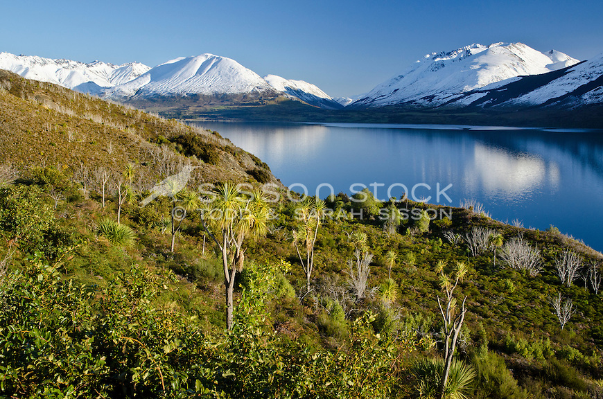 Looking across Lake Wakatipu to snow covered mountains on the road to Glenorchy, South Island, New Zealand
