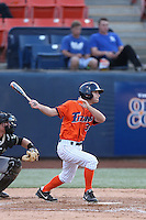 Tyler Stieb (3) of the Cal State Fullerton Titans bats during a game against the Cal Poly Mustangs at Goodwin Field on April 2, 2015 in Fullerton, California. Cal Poly defeated Cal State Fullerton, 5-0. (Larry Goren/Four Seam Images)
