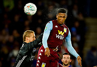 8th January 2020; King Power Stadium, Leicester, Midlands, England; English Football League Cup Football, Carabao Cup, Leicester City versus Aston Villa; Ezri Konsa of Aston Villa beats Kasper Schmeichel of Leicester City to a header from a free kick but the ball crashed back from the Leicester cross-bar- Strictly Editorial Use Only. No use with unauthorized audio, video, data, fixture lists, club/league logos or 'live' services. Online in-match use limited to 120 images, no video emulation. No use in betting, games or single club/league/player publications