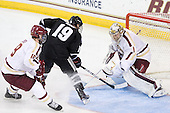 Chris Kreider (BC - 19), Derek Army (PC - 19), Brian Billett (BC - 1) - The Boston College Eagles defeated the visiting Providence College Friars 4-1 (EN) on Tuesday, December 6, 2011, at Kelley Rink in Conte Forum in Chestnut Hill, Massachusetts.