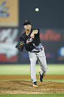 North Division pitcher Alex Wells (34) of the Frederick Keys delivers a pitch to the plate during the 2018 Carolina League All-Star Classic at Five County Stadium on June 19, 2018 in Zebulon, North Carolina. The South All-Stars defeated the North All-Stars 7-6.  (Brian Westerholt/Four Seam Images)