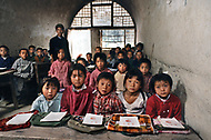 September, 1985. Shaanxi Province, China. The caves of Yan'an are more than 500 years old. An elementary class in a rural school.