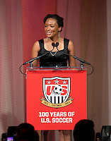 Angela Hucles. US Soccer held their Centennial Gala at the National Building Museum in Washington DC.