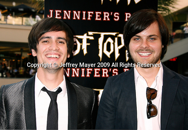 "HOLLYWOOD, CA. - September 16: Brendon Urie and Spencer Smith of Panic at the Disco arrive at ""Jennifer's Body"" Hot Topic Fan Event at Hot Topic on September 16, 2009 in Hollywood, California."
